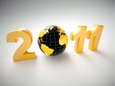 New year 2011 illustration with 3d globe illustration