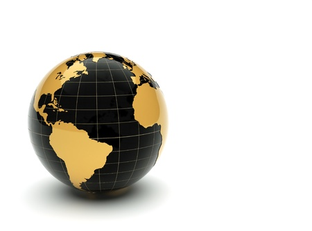 golden globe: 3d earth Stock Photo