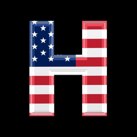 us 3d letter isolated on black background - H photo
