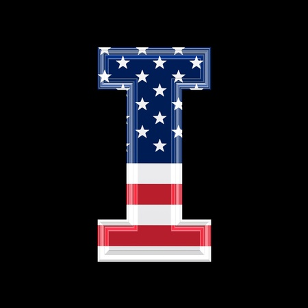us 3d letter isolated on black background - I