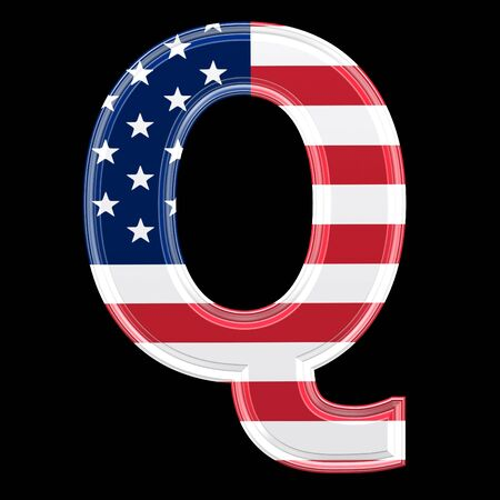 us 3d letter isolated on black background - Q photo