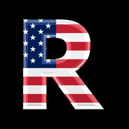 us 3d letter isolated on black background -  R photo