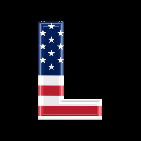 us 3d letter isolated on black background - L photo