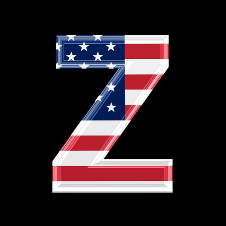 us 3d letter isolated on black background - Z photo