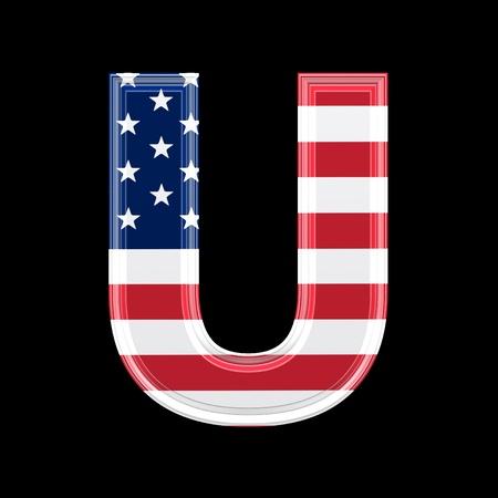 us 3d letter isolated on black background - U photo