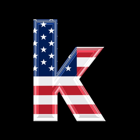 us 3d letter isolated on black background - k photo