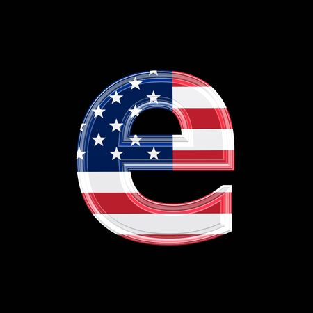 us 3d letter isolated on black background - e photo