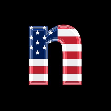 us 3d letter isolated on black background - n photo