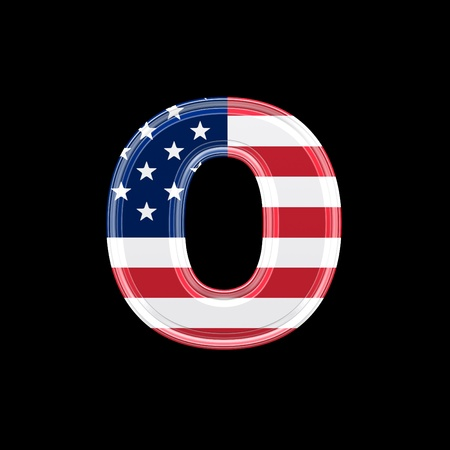 us 3d letter isolated on black background - o photo