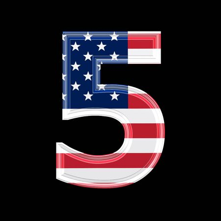 us 3d digit isolated on black background - 5 photo