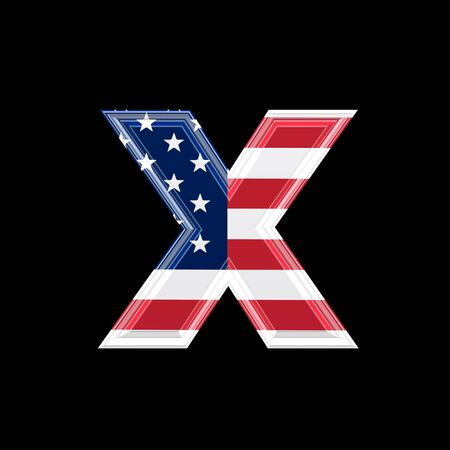 us 3d letter isolated on black background - x photo