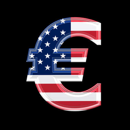 us 3d currency sign isolated on black background - Euro photo