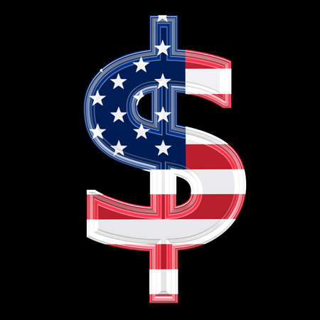 us 3d currency sign isolated on black background - Dollar photo