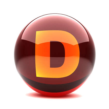 3d glossy sphere with orange letter - D photo