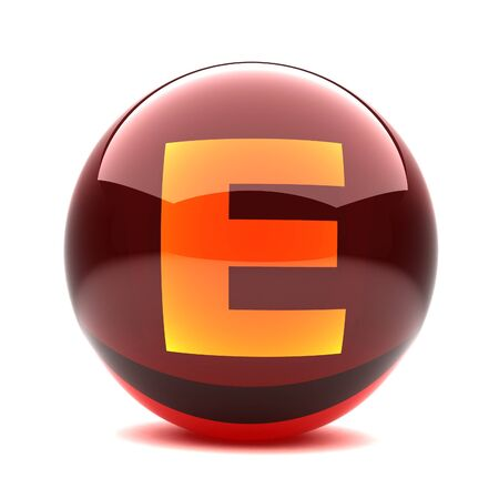 3d glossy sphere with orange letter - E Stock Photo - 8774611