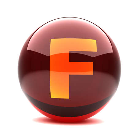 3d glossy sphere with orange letter - F photo