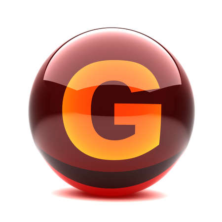 3d glossy sphere with orange letter - G