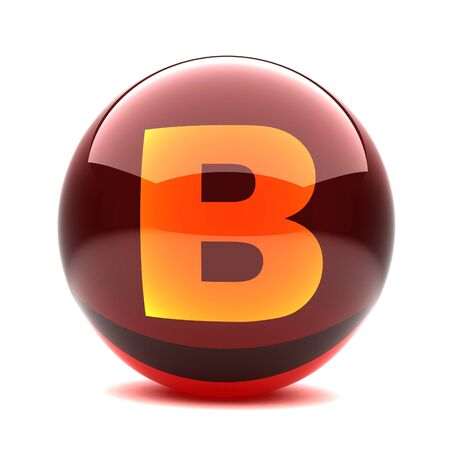 3d glossy sphere with orange letter- B photo