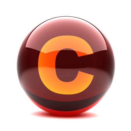 3d glossy sphere with orange letter - C photo