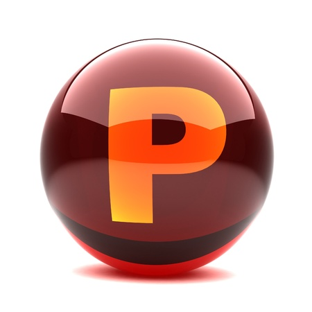 3d glossy sphere with orange letter - P Stock Photo