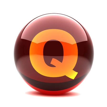 3d glossy sphere with orange letter - Q photo