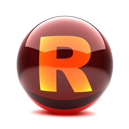 3d glossy sphere with orange letter - R Stock Photo - 8774619