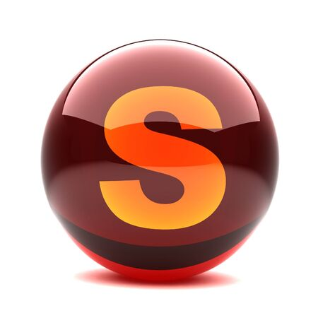 3d glossy sphere with orange letter - S Stock Photo - 8774630