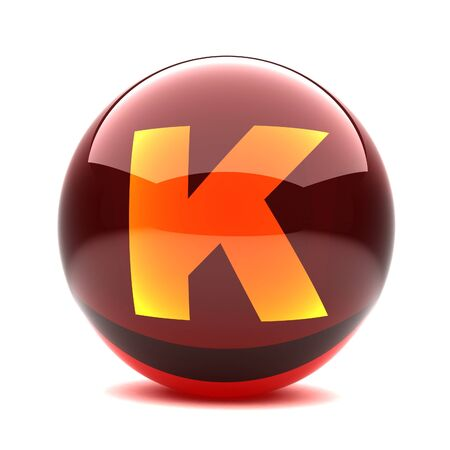 3d glossy sphere with orange letter - K photo