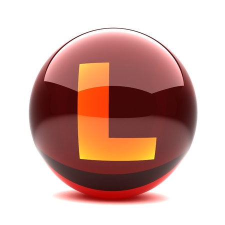 3d glossy sphere with orange letter - L Stock Photo - 8774644