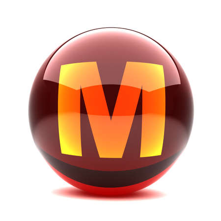 3d glossy sphere with orange letter - M Stock Photo - 8774595