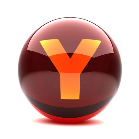 3d glossy sphere with orange letter - Y photo