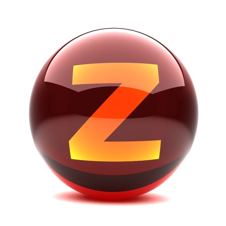 3d glossy sphere with orange letter - Z Stock Photo