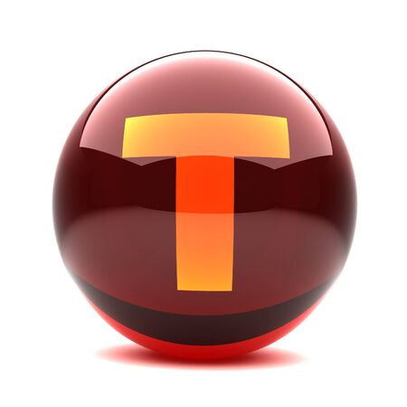 3d glossy sphere with orange letter - T Stock Photo - 8774641