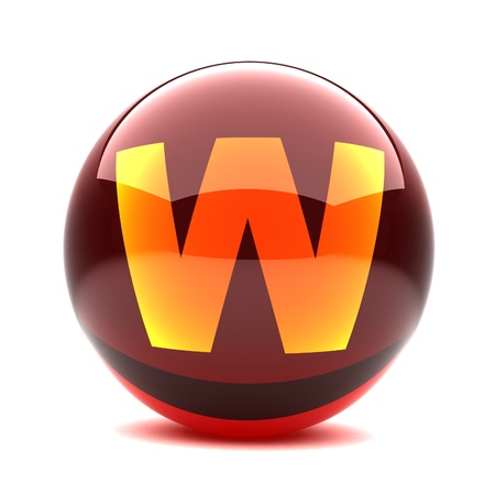 3d glossy sphere with orange letter - W photo