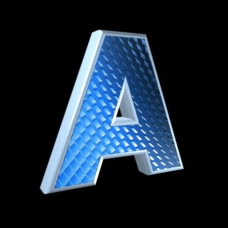 abstract 3d letter with blue pattern texture - A Stock Photo