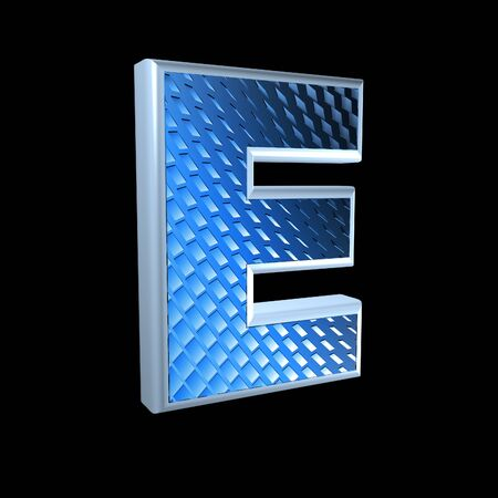 abstract 3d letter with blue pattern texture - E photo