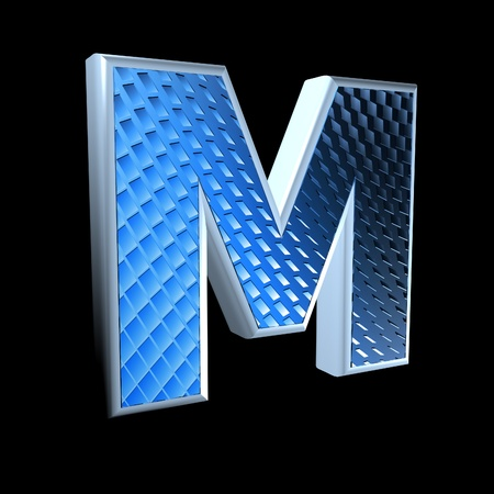 abstract 3d letter with blue pattern texture - M photo