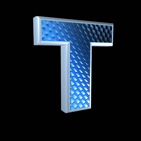 abstract 3d letter with blue pattern texture - T photo