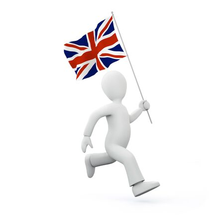Holding a flag of the united kingdom