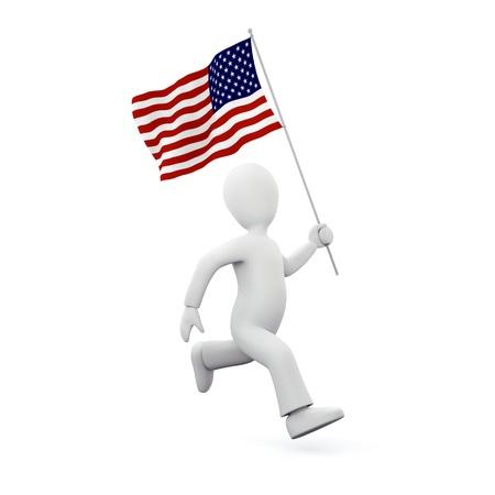 Holding an american flag Standard-Bild