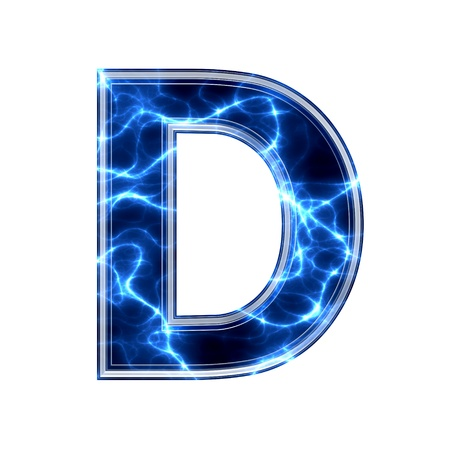 Electric 3d letter on white background - d
