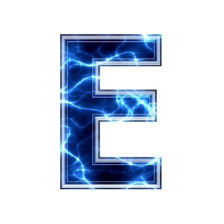 3d lightning: Electric 3d letter on white background - e Stock Photo
