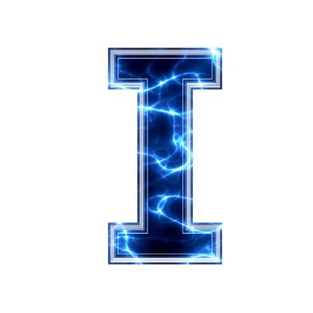 3d lightning: Electric 3d letter on white background - i Stock Photo