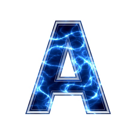 3d lightning: Electric 3d letter on white background - a
