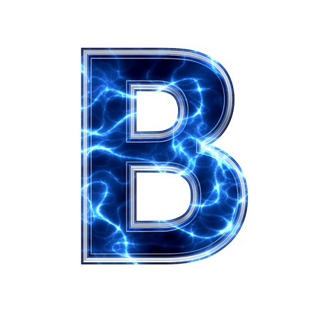 Electric 3d letter on white background - b photo