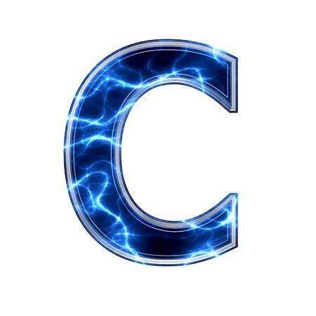 Electric 3d letter on white background - c