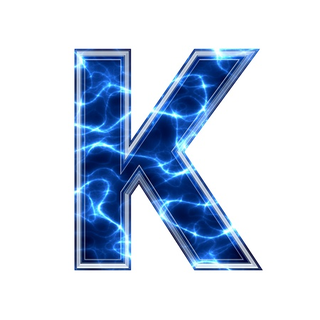 3d lightning: Electric 3d letter on white background - k