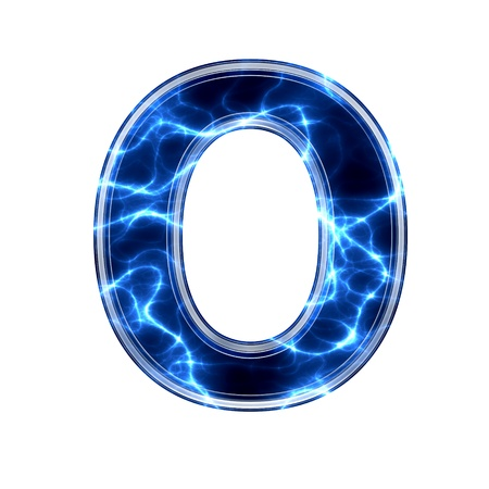 3d lightning: Electric 3d letter on white background - o