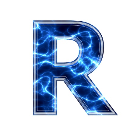 3d lightning: Electric 3d letter on white background - r