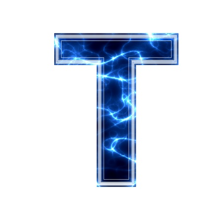 Electric 3d letter on white background - t